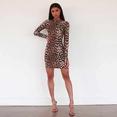 Hugcitar long sleeve high neck leopard print sexy bodycon mini dress 2020 autumn winter women fashion Christmas party clothes