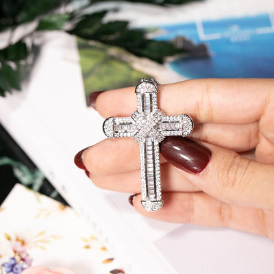 New 925 Silver Exquisite Bible Jesus Cross Pendant Necklace for women men Crucifix Charm Simulated Platinum Diamond Jewelry N028