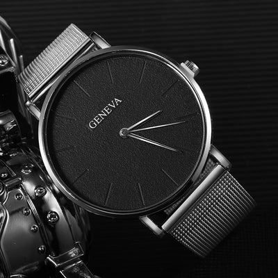 GENEVA Ultra-thin Women's Watch Business Watch Women Luxury Saat Rose Gold Mesh Stainless Steel Women's Watches Female Clock