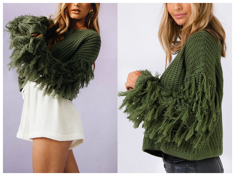 BeAvant Tassel knitted sweater women pullover loose Casual army green winter sweater female O neck 2018 autumn jumper pull femme