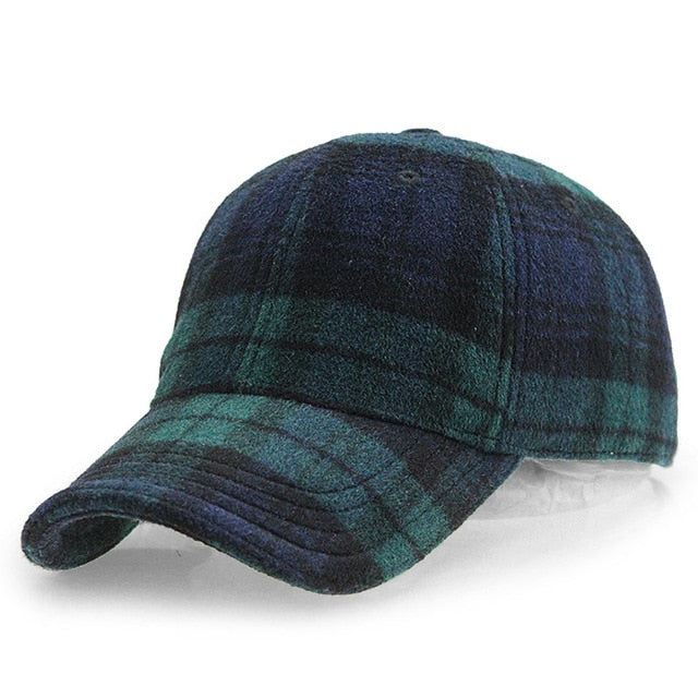 [AETRENDS] Plaid Woolen Felt Baseball Cap Men Women Cotton Snapbacks Baseball Hats Z-6246