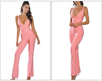 Bandage Jumpsuit Autumn 2019 New Pink Sexy V Neck High Quality Christmas Jumpsuits  Women Rayon Bandage Jumpsuit