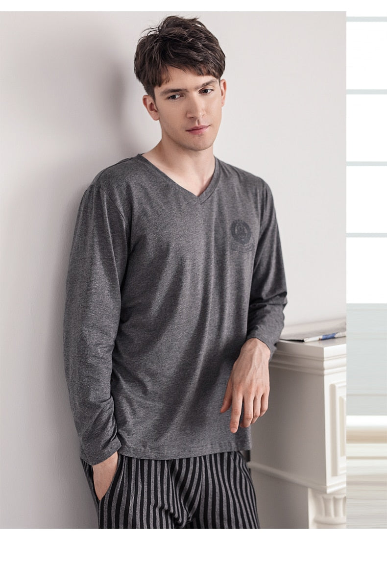 Pajamas Sleeping Suits for Men Fashion Men Sleepwear Modal Classy Pijama Hombre Plain Grey Male Pyjamas Long Sleeves Pajamas Men