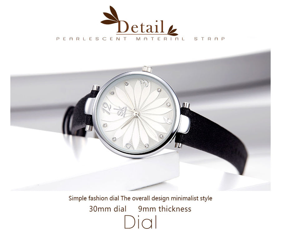 New Coffee Black Leather Strap Women Watch Crystal Flower Decoration Dial Gift Quartz Casual Wristwatch Relogio Feminino