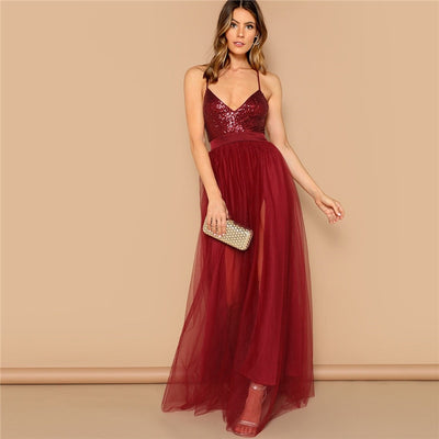 SHEIN Sexy Burgundy Crisscross Open Back Sequin Patched Strappy Long Dress Women Summer Solid Fit and Flare Mesh Party Dresses