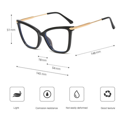 TR90 Big Cat Eye Glasses Frames Men Women Optical Fashion Computer Glasses 45918