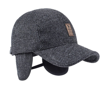 [AETRENDS] Woolen Felt Knitted Design Winter Baseball Cap Men Thicken Warm Hats with Earflaps Z-5000