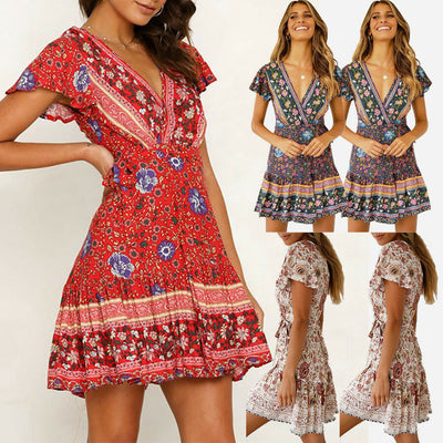 Vintage Women Short Sleeve Wrap Boho Floral Mini Dress Ladies Summer Sundress Holiday V neck Short Sleeve Print Dress