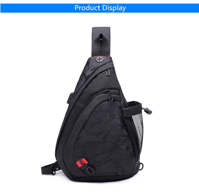 FengDong waterproof fabric male crossbody bag small black camouflage sling chest bag one shoulder bags for men bagpack daypack