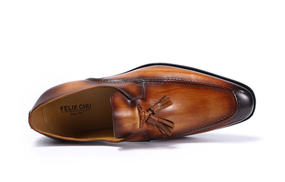 FELIX CHU 2018 Mens Street Fashion Tassel Loafers Genuine Leather Brown Formal Shoes Party Wedding Men Dress Casual Footwear