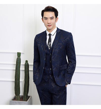 2020 New High-end Black Suit Men Business Banquet Wedding Mens Suits Jacket with Vest and Trousers Large Size 6XL