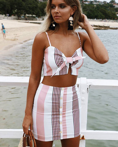 Women striped bandage lace up print summer camis 2 piece set for female women buttons two pieces set skirt summer two piece set