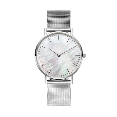 Mavis Hare Silver Color White & Black dial Mesh Women watches Stainless Steel wristwatch with Crystal Cuff Bangle as Gift