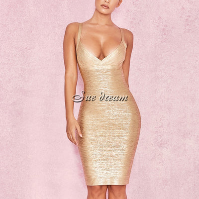 High Quality New  Sleeveless Gold Print Bandage Dress Deep V-Neck Foiling Sexy Celebrity Bodycon Cocktail Party Christmas Dress
