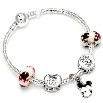 European Fashion Mickey Minnie Charm Bracelet Castle Crystal Bead Brand Bracelet For Women Child Gift Diy Jewelry Making
