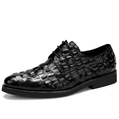 QYFCIOUFU Crocodile Pattern Genuine Leather Men Oxford Shoes Pointed Toe Men Dress Shoes Big Size Lace Up Formal Shoes US 11.5