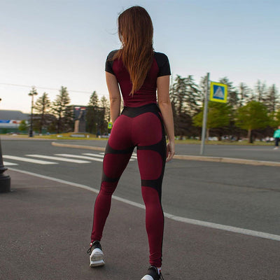 Push Up Sports Fitness Bodysuit Women  2019 Summer Active Wear Casual Rompers Zipper Patchwork Short Sleeve Jumpsuits