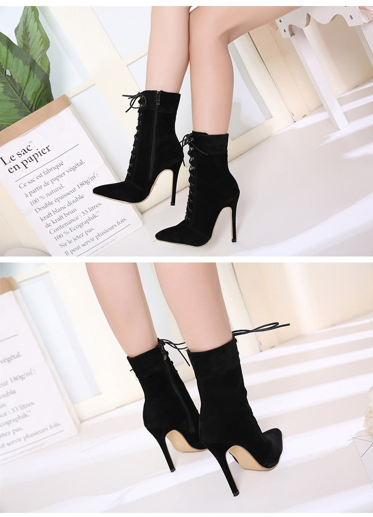 Eilyken New Punk Women Ankle Boots Lace Up Pointed Toe high heel Black Chelsea Boots Pumps 11CM shoes for women