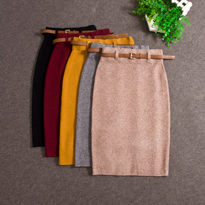 Fashion Winter Skirt Women 2018 Sexy Split Package Hip Knitting Women Skirt Elegant High Waist Solid Female Pencil Skirt 1148 40