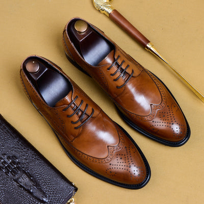 QYFCIOUFU 2019 New Men Dress Shoes Genuine Leather Male Oxford Italian Classic Vintage Lace-up Men's Brogue Shoes Oxford US 11.5