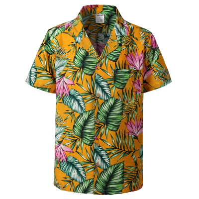 Mens Hipster Casual Short Sleeve Hawaiian Aloha Shirts 2019 Summer New Button Down Tropical Men Beach Shirt with Pocket Pink 2XL