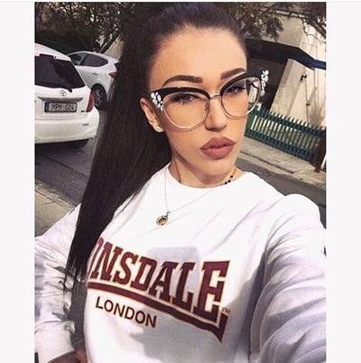 45120 GORGEOUS Ladies Cat Eye Shiny Rhinestones Glasses Frames For Women Eyewear Optical EyeGlasses