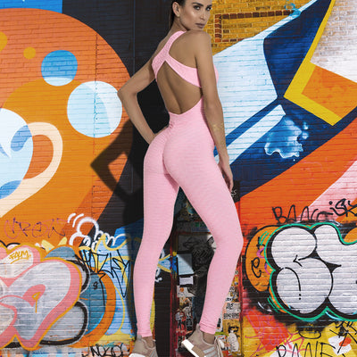 New Women Sexy Yoga Jumpsuit Fitness Clothing Women's One Pieces Backless Sports Jumpsuit Gym Workout Yoga Set Pink Gym Bodysuit
