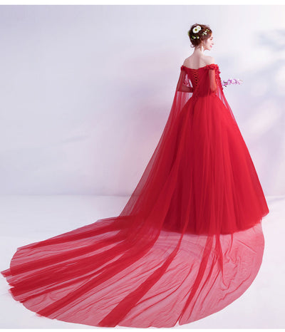 Walk Beside You Red Evening Dresses Off Shoulder Flower Lace Applique Sequined Prom Gowns Chapel Train Vestidos Largos De Noche