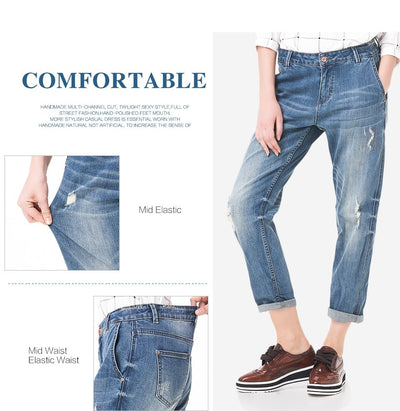 LEIJIJEANS Spring Plus Size Fashion Ripped Hole Bleached Mid Waist Ankle Length Vintage Stretch Loose Harem Women Jeans