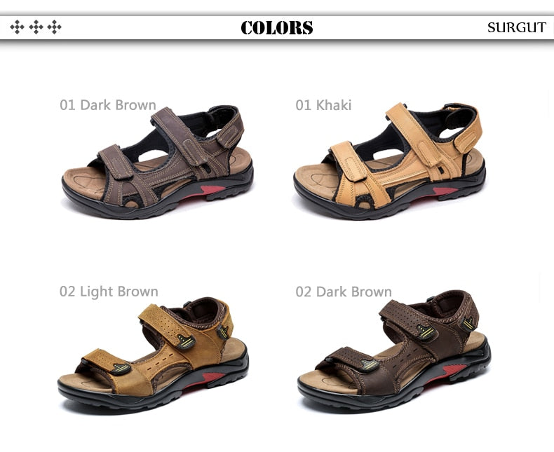 SURGUT Brand Men Summer Fashion Sandals Beach Shoes Genuine Leather Comfortable Casual Shoes Men Roman Style Big Size 38-48