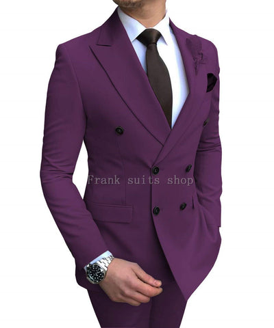 Groomsmen Groom Custom Made Tuxedos Pink Men Suits Peak Lapel Best Man 2 pieces Wedding ( Jacket+Pants)