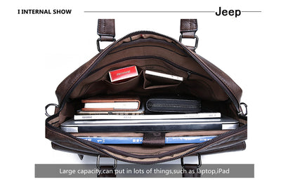 JEEP BULUO Men Briefcase Bag High Quality Business Famous Brand Leather Shoulder Messenger Bags Office Handbag 13.3 inch Laptop