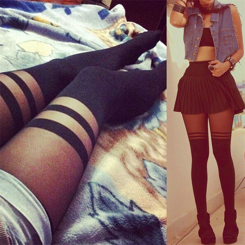 Hot Sales Autumn Winter Black Striped Sexy Stocking Women Girls Temptation Sheer Mock Suspender Tights Pantyhose Stockings
