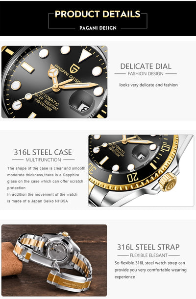 PAGANI2019 Design Brand Luxury Men Watches Automatic Black Watch Men Stainless Steel Waterproof Business Sport Mechanical