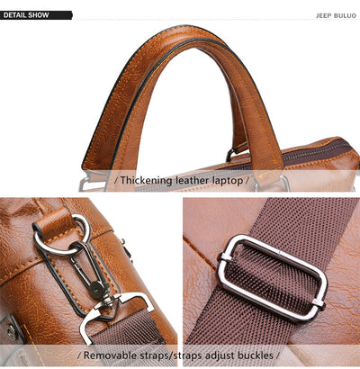 Famous Designer JEEP BULUO Brands Men Business Briefcase PU Leather Shoulder Bags For 13 Inch Laptop Bag big Travel Handbag 6013