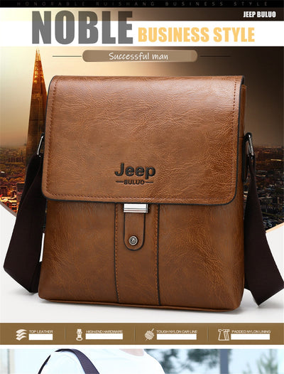 JEEP BULUO Men Shoulder Bag Set Big Brand Crossbody Business Messenger Bags For Man Fashion Casual pu Leather New Hot Salling