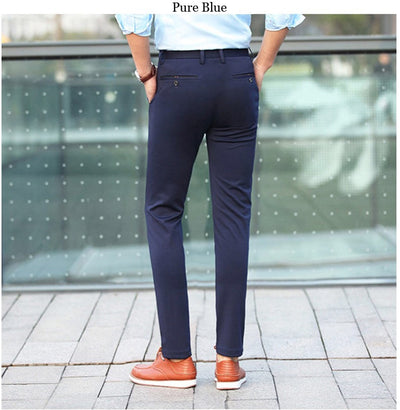 2019 Men's Spring Autumn Fashion Business Casual Long Pants Suit Pants Male Elastic Straight Formal Trousers Plus Big Size 28-40