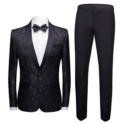 Black Formal Suit Men 2 Piece Set Asian Size 4XL Business Banquet Men Dress Suit Jacket and Pants High Quality Jacquard Fabric