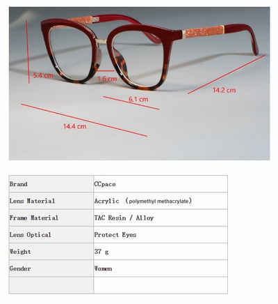 45074 Cat Eye Optical Lady Square Glasses Frames Women Shiny Legs EyeGlasses Fashion Eyewear