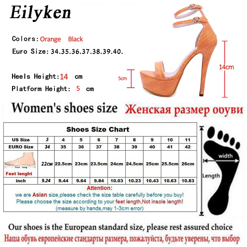 Eilyken Summer Fashion Serpentine Women Sandals Super High Heel Buckle Strap Open The Toe Gladiator Thin Heel Sexy Party Shoes