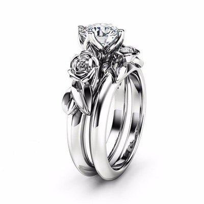Modyle 2019 New Fashion Silver and Rose Gold Color Rose Flower Ring Set For Woman CZ Stone Wedding Ring Dropshipping