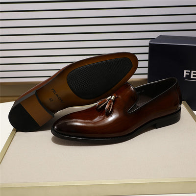 FELIX CHU Patent Leather Men Tassel Loafer Shoes Black Brown Slip on Mens Dress Shoes Wedding Party Formal Shoes Size 39-46