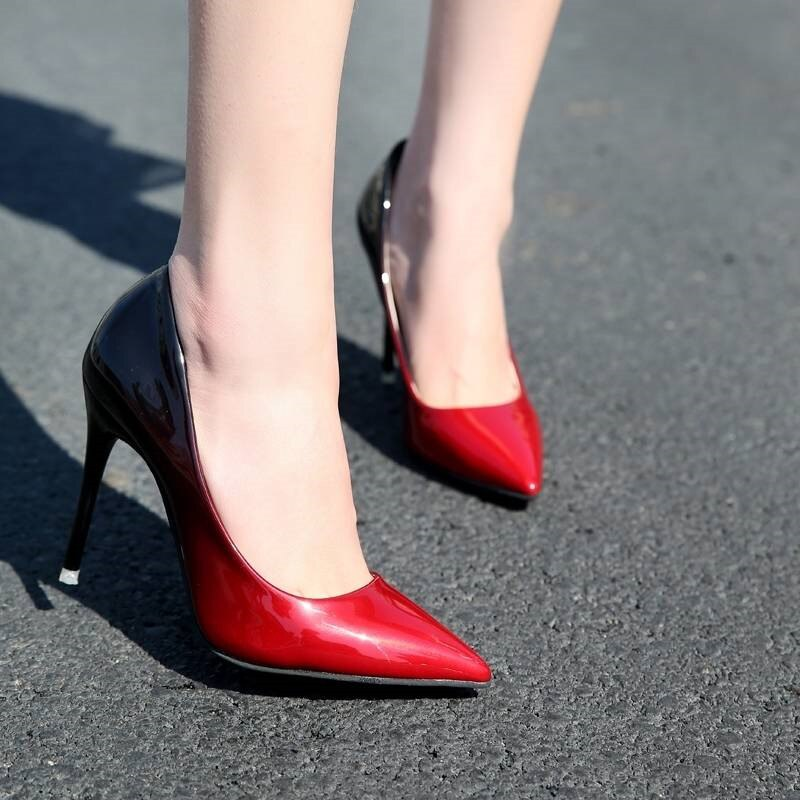 High heels pumps women shoes Office Mixed Colors Thin Heels Rubber sole ladies shoes