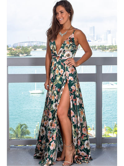 2020 Spring dress  Floral Sexy Maxi dress Long Pleated Dresses Backless robe femme V neck long evenning dress