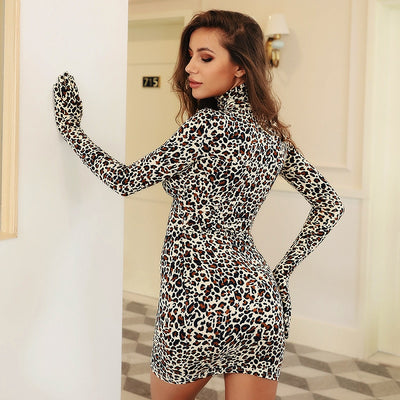 LVINMW Sexy Leopard Print Bodycon Dress Women Cotton Long Sleeve With Gloves Turtleneck Mini Dress New Female Party Club Dresses
