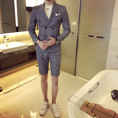 Summer khaki Men Suit With Short Pants Double Breasted Slim Fit blue Male Blazer Party Wear black Men wedding suit Tuxedo