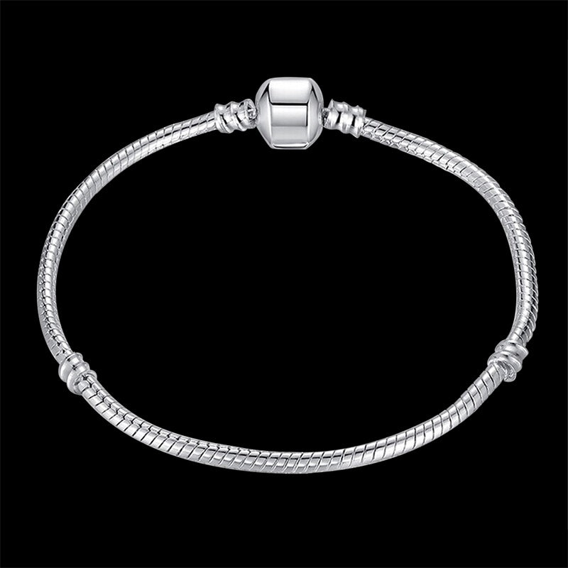 100% Solid 925 Sterling Silver 16-23cm Long Snake Chain Bracelet Bangle Luxury Wedding Jewelry for Women Gift