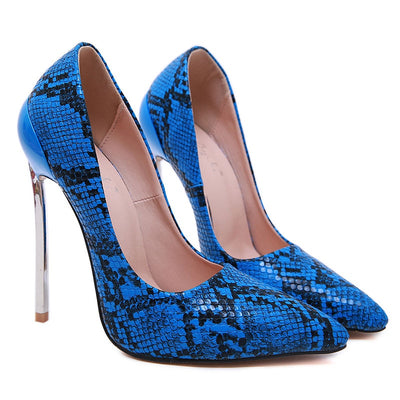High Heels Shoes Women Pumps Snake Print Sexy  Party Heeled Designer Shoes