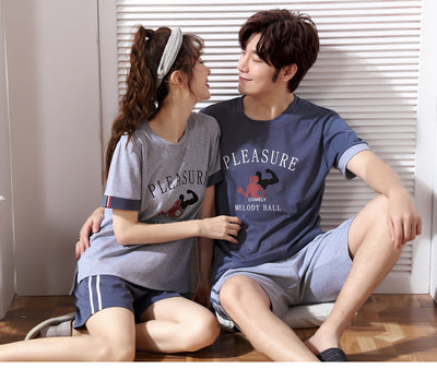 New summer lovers pajamas women letter short sleeve and striped pant pajama sets men pure couple pajamas for men set