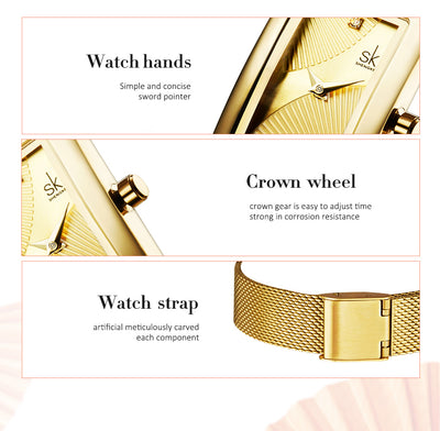 New Top Brand Luxury Women Watch Rectangle Dial Elegant Quartz Japanese Ladies Wristwatches Waterproof Gift Reloj Mujer
